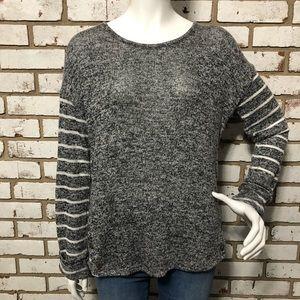 Cato Grey & White Striped Sweater (Medium)